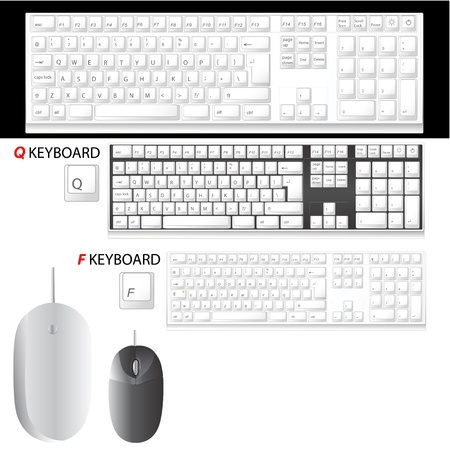 key pad: computer keyboard and mouse details vector (F and Q keyboard)