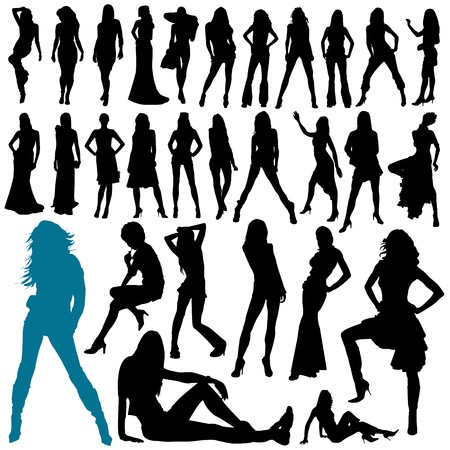 model: collection of model woman vector