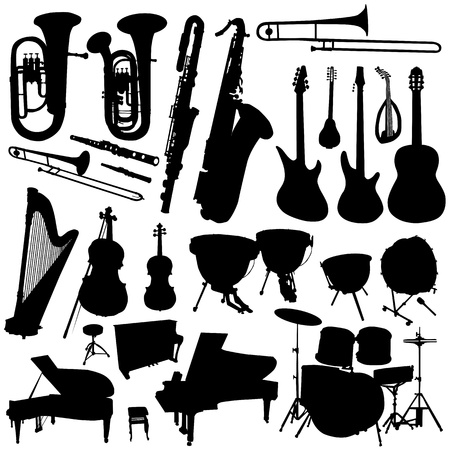 tuba: collection of music vector  Illustration