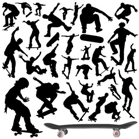 ni�o en patines: colecci�n de vector de monopat�n