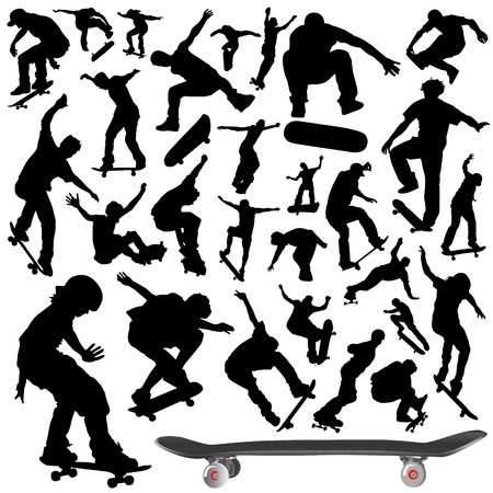 skateboarder: collection of skateboard vector