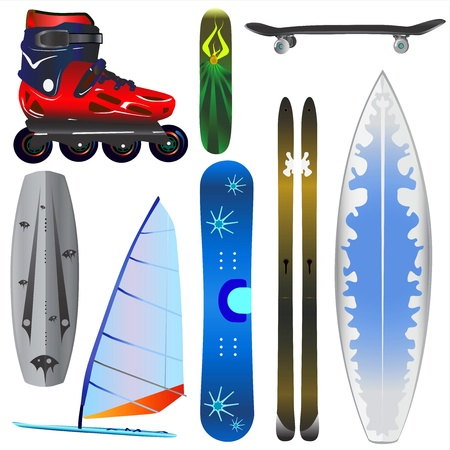 extreme sports equipments vector Vector