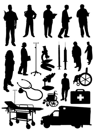 medical object and people silhouette vector  Vector