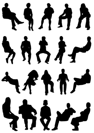 сидит: collection of sitting people vector