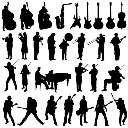 collectie van muzikant en muziek object vector  Vector Illustratie