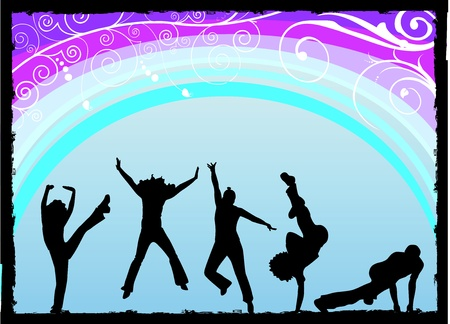 dancers silhouette: party vector  Illustration