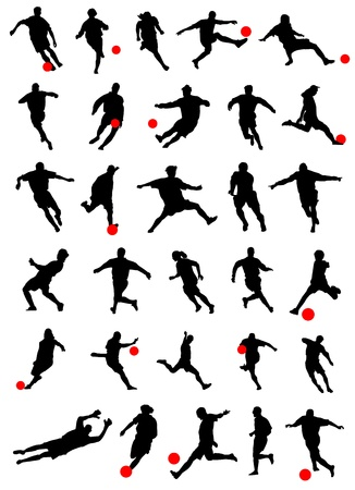 soccer players: collection of soccer vector  Illustration