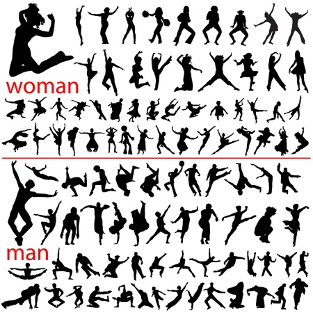 100 jumping people, woman and man. Stock Vector - 9592800