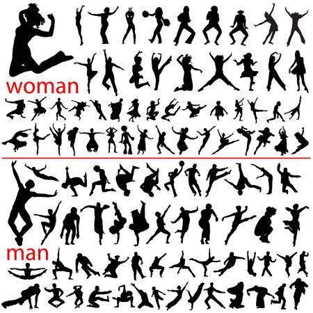 100 springende mensen, vrouw en man. Vector Illustratie