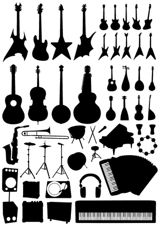collection of music objects vector  Vector