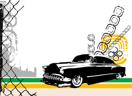 piezas coche: vector de coche y ciudad ex�tico  Vectores