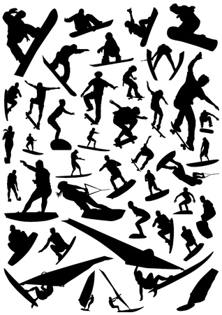 collection of board sports vector Vector