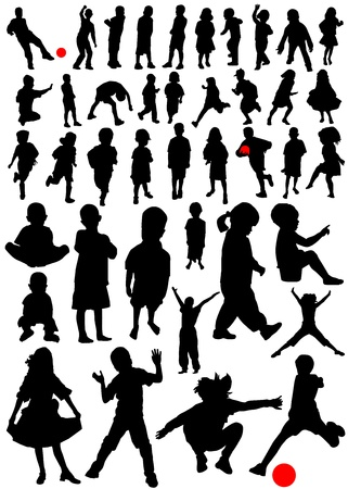 jumping girl: collection of kids vector