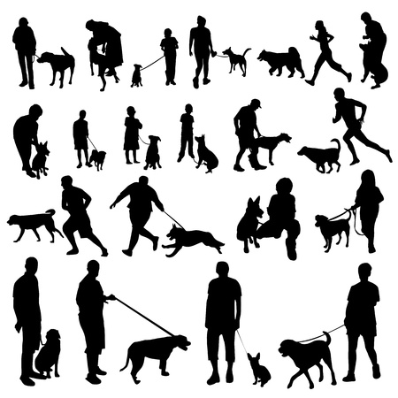 silueta masculina: personas con siluetas de perros
