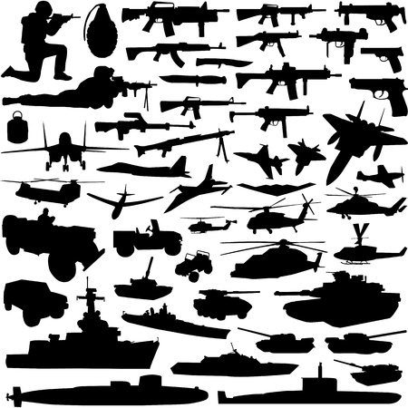 collectie van militaire objecten vector
