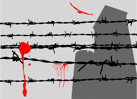grunge barbed wire vector Stock Vector - 9658242