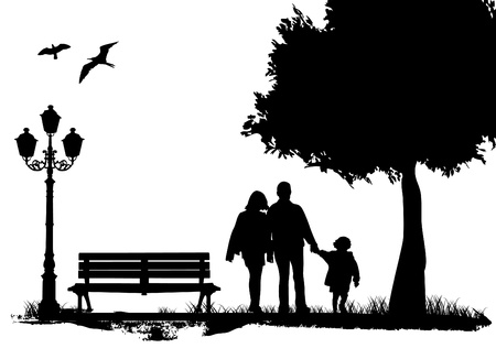 city man: family in the city park Illustration