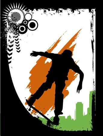 urban youth: skateboarding Illustration