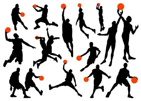 jump shot: basketball vector set