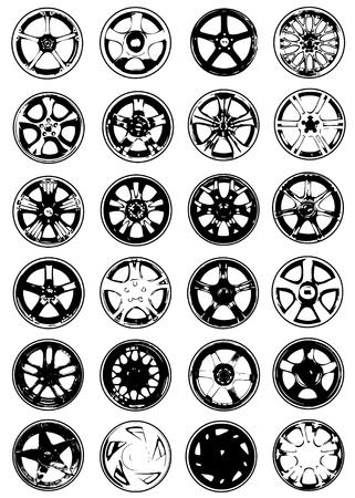 cerchione: set di vettore ruota cromo Vettoriali
