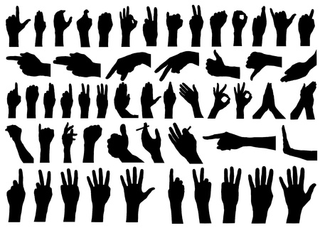 stop hand silhouette: set of hands