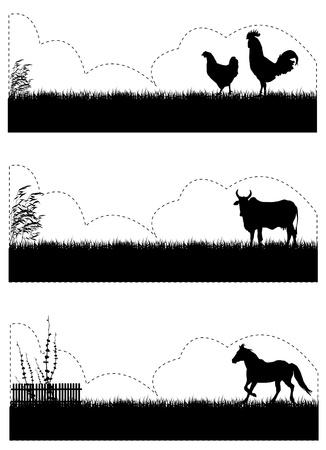 grass silhouette: farm animals