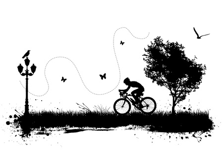 bicycle silhouette: bike and city