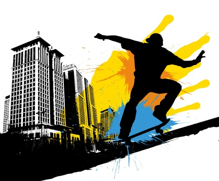 teen culture: skateboard Illustration