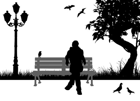 people sitting in the city park Vector