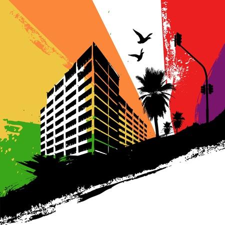 rainbow city Vector