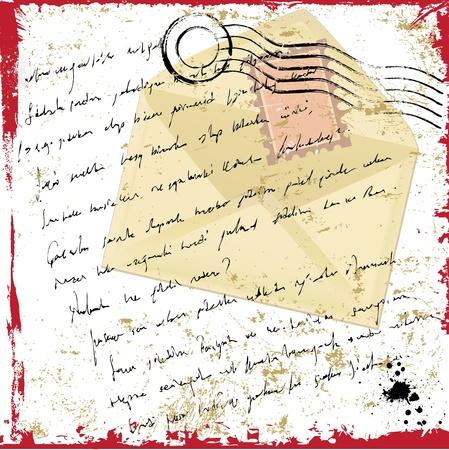 perforated stamp: grunge letter Illustration