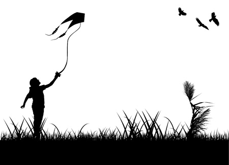 kid flying kite Vector