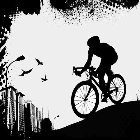 fahrradrennen: Fahrrad und Stadt Illustration