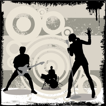 rock band: grunge concert vector Illustration