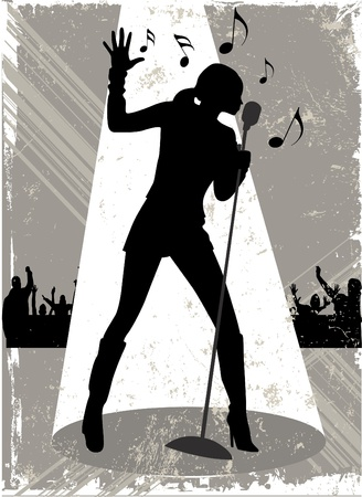 stage performer: singer vector Illustration