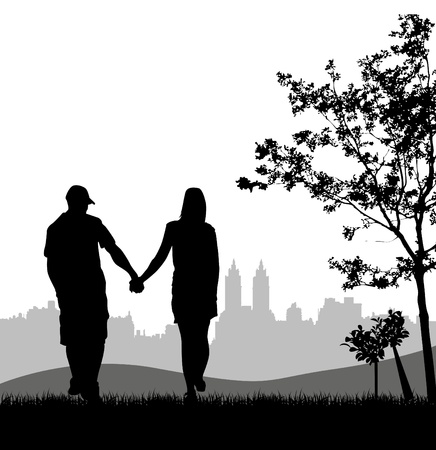 couple at outdoor Vector