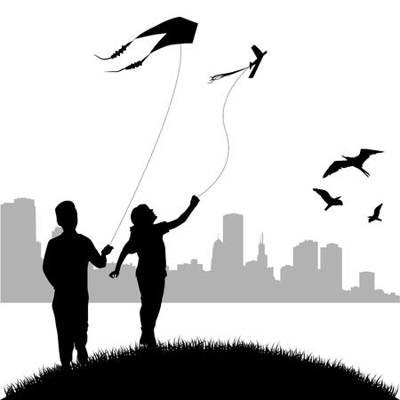 papalote: ni�os volando cometas  Vectores