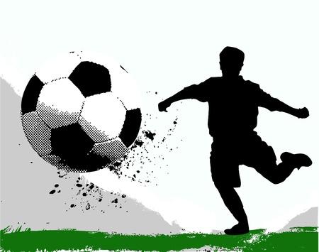 voetbal silhouet: voetballer Stock Illustratie
