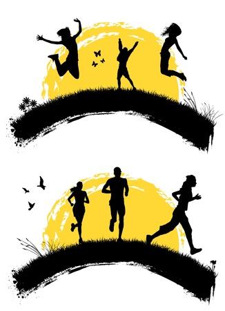 mujeres corriendo: saltando y ejecutando personas