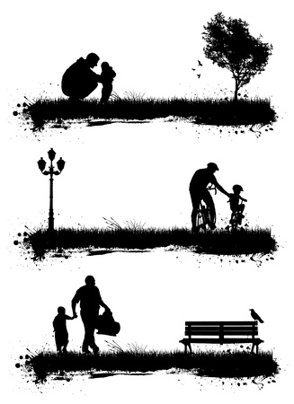 peoples in the park. 3 different scene Vector