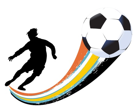 soccer player and ball Stock Vector - 9717436