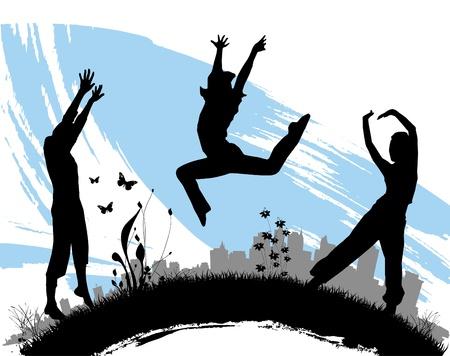 t�nzerinnen: Menschen springen