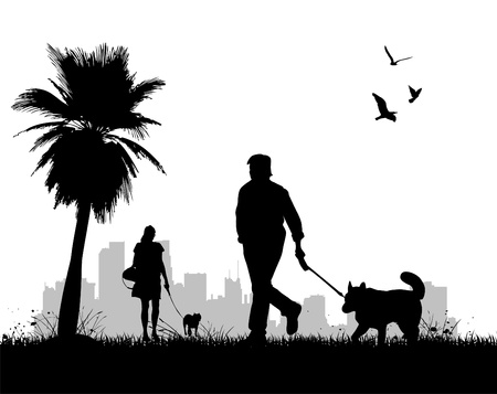 man outdoors: people walking dogs  Illustration
