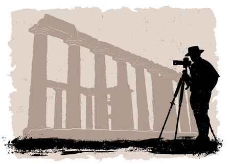 photographer with historical temple  Vector