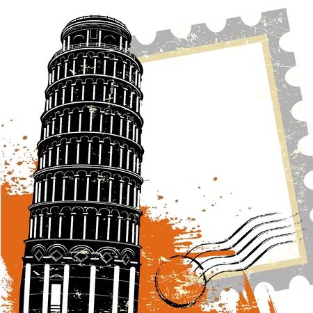 cultura italiana: Torre di Pisa  Vettoriali
