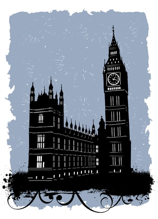big ben tower: big ben, london, england Illustration