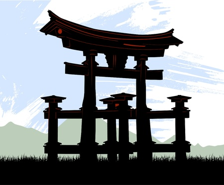 temple mount: japan temple  Illustration