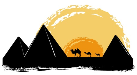 arabic desert: pyramid  Illustration
