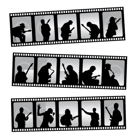 bass player: music filmstrip  Illustration