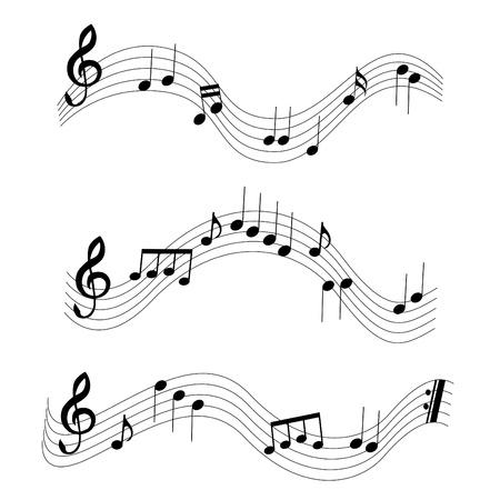 semiquaver: 3 note musicali diverse Vettoriali